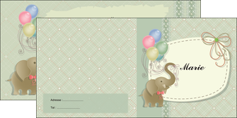 modele depliant 2 volets  4 pages  elephant gris ballons MLIG13873
