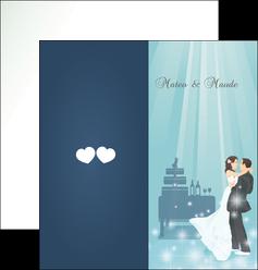 maquette en ligne a personnaliser depliant 2 volets  4 pages  mariage marier marie MIS16647