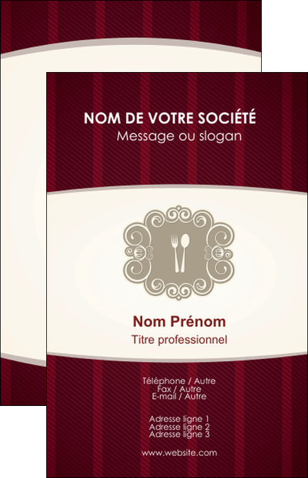 Creer Modele En Ligne Carte De Visite Restaurant Restauration Menu MLGI18503