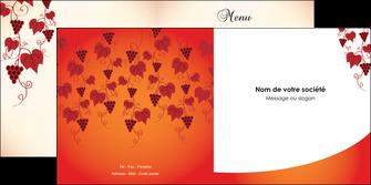 personnaliser modele de depliant 2 volets  4 pages  vin commerce et producteur raisins grappe de raisins culture de raisins MLIG19033