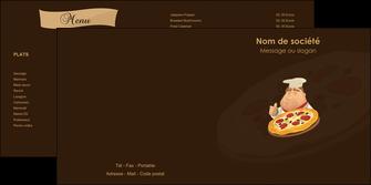 creation graphique en ligne depliant 2 volets  4 pages  pizzeria et restaurant italien pizza plateau plateau de pizza MLGI19495