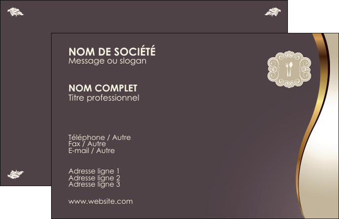 Faire Modele A Imprimer Carte De Visite Restaurant Francais Du Monde MLGI19675
