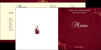 personnaliser modele de depliant 2 volets  4 pages  vin commerce et producteur vin bouteille de vin verres de vin MLIG20369