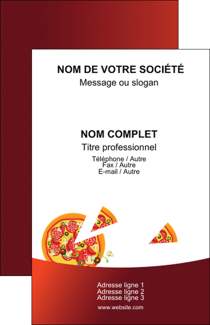 Creer Modele En Ligne Carte De Visite Pizzeria Et Restaurant Italien Pizza Service MLGI20389