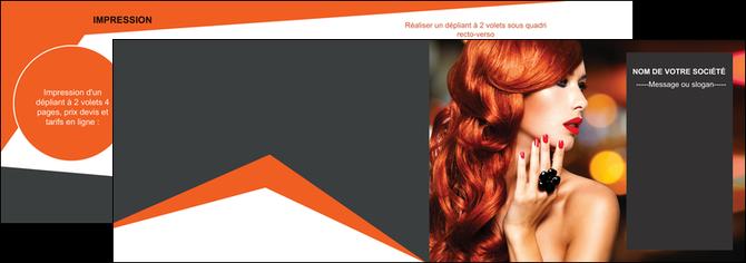 personnaliser modele de depliant 2 volets  4 pages  centre esthetique  coiffure coiffeur coiffeuse MLGI25695