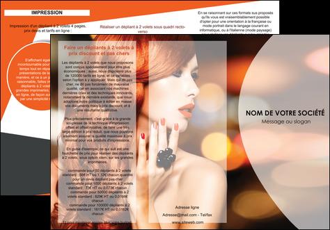personnaliser maquette depliant 3 volets  6 pages  centre esthetique  coiffure coiffeur coiffeuse MLGI25803