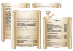 impression depliant 2 volets  4 pages  metiers de la cuisine menu restaurant restaurant francais MLGI26201
