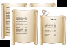 personnaliser maquette depliant 2 volets  4 pages  metiers de la cuisine menu restaurant restaurant francais MLGI26203