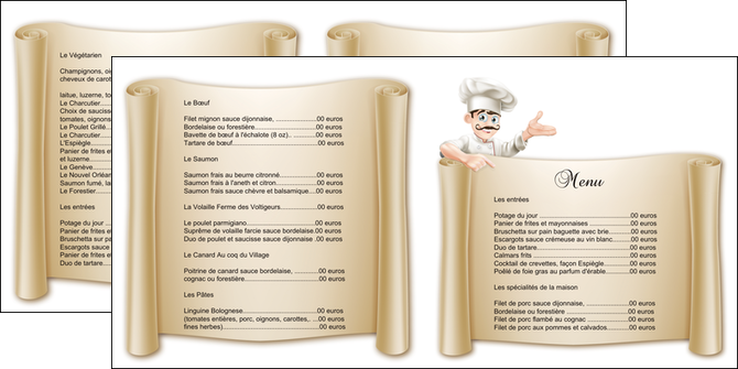 Top Dépliant 2 volets (4 pages) modèle et exemple menu, restaurant  BB62