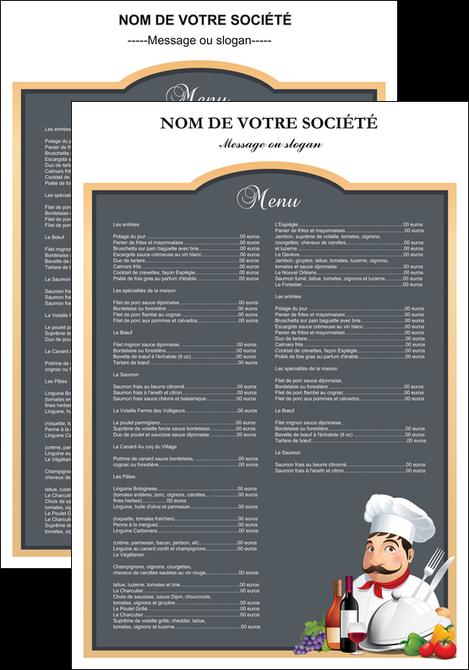 modele en ligne affiche metiers de la cuisine menu restaurant restaurant francais MLGI26407