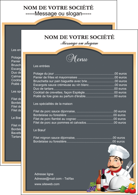 realiser flyers metiers de la cuisine menu restaurant restaurant francais MLGI26413