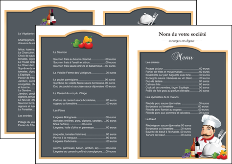 impression depliant 2 volets  4 pages  metiers de la cuisine menu restaurant restaurant francais MLGI26423