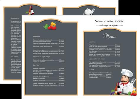 modele en ligne depliant 2 volets  4 pages  metiers de la cuisine menu restaurant restaurant francais MLGI26425