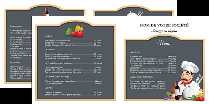 faire modele a imprimer depliant 2 volets  4 pages  metiers de la cuisine menu restaurant restaurant francais MLGI26427