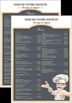 impression flyers metiers de la cuisine menu restaurant restaurant francais MLGI26623