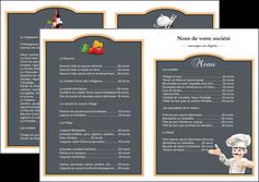modele depliant 2 volets  4 pages  metiers de la cuisine menu restaurant restaurant francais MLGI26635