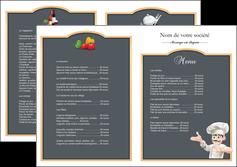 modele en ligne depliant 2 volets  4 pages  metiers de la cuisine menu restaurant restaurant francais MLGI26637
