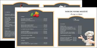 exemple depliant 2 volets  4 pages  metiers de la cuisine menu restaurant restaurant francais MLGI26639