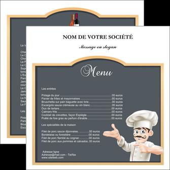 personnaliser maquette flyers metiers de la cuisine menu restaurant restaurant francais MLGI26643
