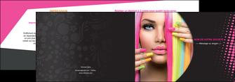 personnaliser maquette depliant 2 volets  4 pages  centre esthetique  coiffure coiffeur coiffeuse MLGI28305