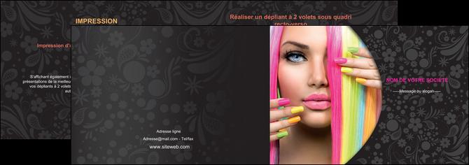 personnaliser modele de depliant 2 volets  4 pages  cosmetique coiffure coiffeur coiffeuse MLGI28473