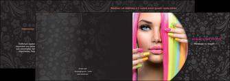 faire depliant 2 volets  4 pages  cosmetique coiffure coiffeur coiffeuse MIF28475