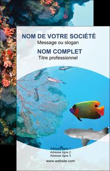 realiser carte de visite chasse et peche plongeur corail poissons MIS33857