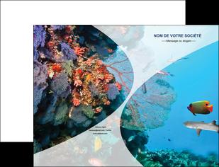 impression pochette a rabat chasse et peche plongeur corail poissons MIS33859