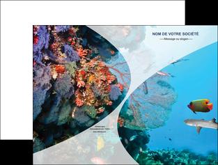 impression pochette a rabat chasse et peche plongeur corail poissons MLIG33861