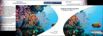 impression depliant 2 volets  4 pages  chasse et peche plongeur corail poissons MIS33865
