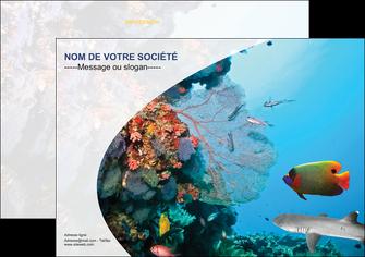 creer modele en ligne flyers chasse et peche plongeur corail poissons MIS33867