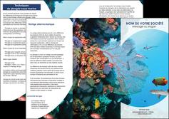 personnaliser modele de depliant 3 volets  6 pages  chasse et peche plongeur corail poissons MLIG33879