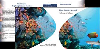 personnaliser maquette depliant 2 volets  4 pages  chasse et peche plongeur corail poissons MIS33883