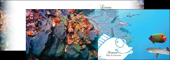 creation graphique en ligne depliant 2 volets  4 pages  chasse et peche plongeur corail poissons MIS34429