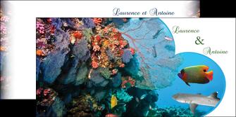 creation graphique en ligne depliant 2 volets  4 pages  chasse et peche plongeur corail poissons MIS34443