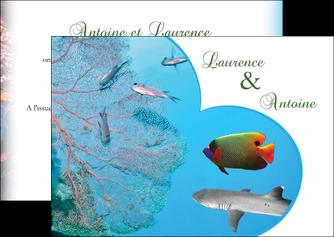 personnaliser maquette flyers chasse et peche plongeur corail poissons MIS34445