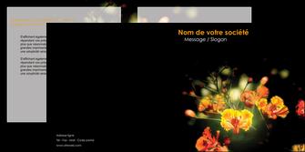 faire modele a imprimer depliant 2 volets  4 pages  fleuriste et jardinage fleur luxe noire MLIG34785