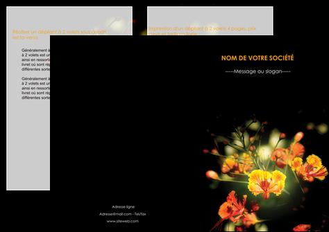 creer modele en ligne depliant 2 volets  4 pages  fleuriste et jardinage fleur luxe noire MLGI34803