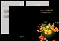 creer modele en ligne depliant 2 volets  4 pages  fleuriste et jardinage fleur luxe noire MIF34803