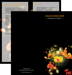 imprimer depliant 2 volets  4 pages  fleuriste et jardinage fleur luxe noire MIF34805