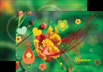 personnaliser modele de flyers fleur naissance nature MLIG34955