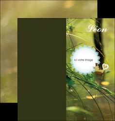 creer modele en ligne depliant 2 volets  4 pages  faire part de naissance vert nature MLIG35351