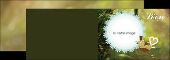 personnaliser modele de depliant 2 volets  4 pages  faire part de naissance vert nature MLIG35357