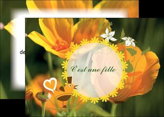 exemple flyers fleurs faire part de naissance jaune MLIG36011