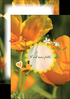 imprimer flyers fleurs faire part de naissance jaune MLIG36013