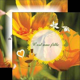 creer modele en ligne flyers fleurs faire part de naissance jaune MLIG36015