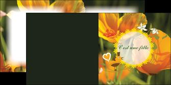 maquette en ligne a personnaliser depliant 2 volets  4 pages  fleurs faire part de naissance jaune MLIG36017