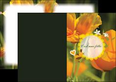 creer modele en ligne depliant 2 volets  4 pages  fleurs faire part de naissance jaune MLIG36019