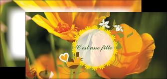 maquette en ligne a personnaliser flyers fleurs faire part de naissance jaune MLIG36023