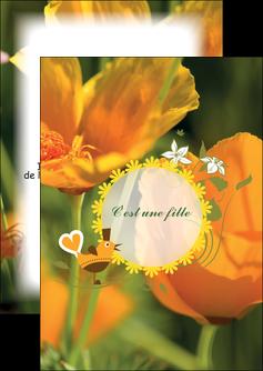 impression flyers fleurs faire part de naissance jaune MLIG36025